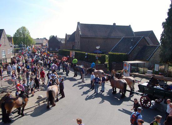 voorbereiding paardenparade processie