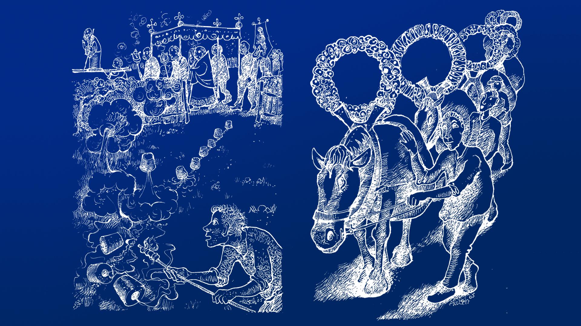 Oude illustraties processie